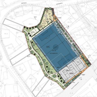 Kaavakuva Mölymäelle suunnitellusta puistoalueesta ja jalkapallokentästä