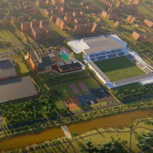 Skiss över en planerad idrotts- och evenemangspark i Karleby.