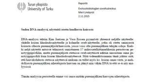 En dna-analysrapport, text.