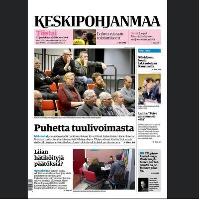 Skärmdump av Keskinpohjanmaas e-tidning.