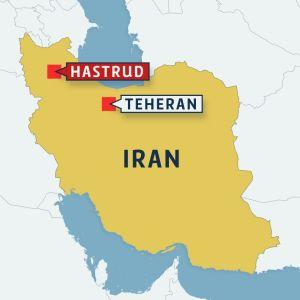 Karta över Iran med Teheran och Hastrud utplacerat.