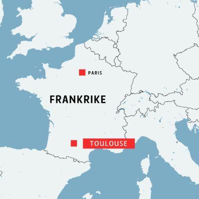 Karta där franska Toulouse är utmärkt.