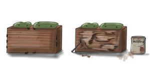 Illustrationer där en låda visar skillanden mellan omkrets och area.