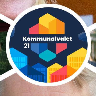 Bildcollage av fyra bilder. I bild syns kommunalpolitikerna Henrik Wickström, Sandra Bergqvist, Heikki Vestman och Peter Östman.