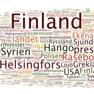 En så kallad tag-cloud visar vilka ord som förekom mest i Svenska Yles nyheter.