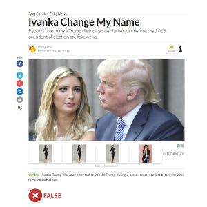 Kuvakaappaus Snopes-sivuston uutisesta.