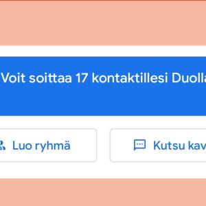 Kuvakaappaus Google Duosta: Palvelu kyselee puhelun laatua puhelun jälkeen.