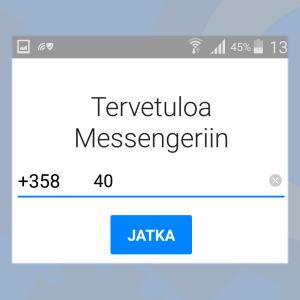 Kuvakaappaus Facebook Messenger -sovelluksesta: Kirjaudu puhelinnumerolla.
