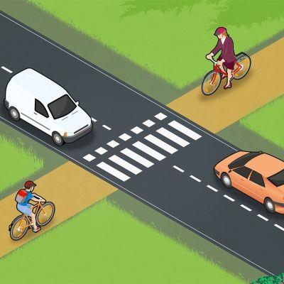 Kuvan tilanteessa voi pyöräillä tien yli, mutta polkupyöräilijän pitää väistää autoja.
