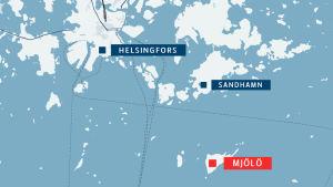 Karta över var Mjölö ligger, söder om Sandhamn i Helsingfors.