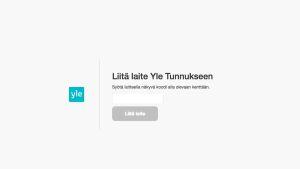 Yle Tunnuksen Liitä laite -näkymä selaimessa
