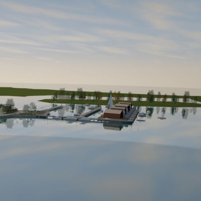 En skiss över gamla stan i Ekenäs där några villor byggda på havet syns ute på vattnet vid Barckens udde.