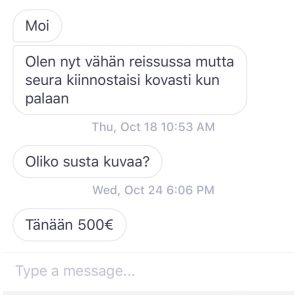 """Kuvakaappaus keskustelusta: """"Tänään 500€""""."""