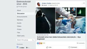 Anders Sultan delar en länk i Facebookgruppen EKS om att kolloidalt silver kan rädda liv under coronakrisen. Sultan är själv silvervattentillverkare.