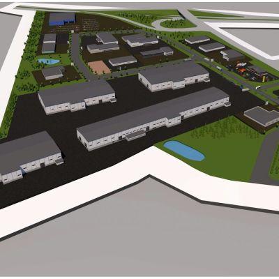 En arkitektskiss av gateway park. Området består främst av stora industrilokaler och en huvudväg.