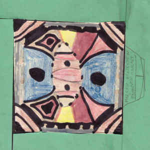 """Värikynillä ja tussilla tehty lasten piirros, jolle on askarreltu vihreästä kartongista kehykset. Piirroksessa on geometrisiä muotoja. Oikeassa reunassa lukee tikkukirjaimin """"Markku Pääskynen, Itämainen maalaus""""."""