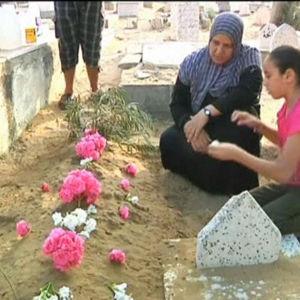 Sörjande palestinier i Gaza