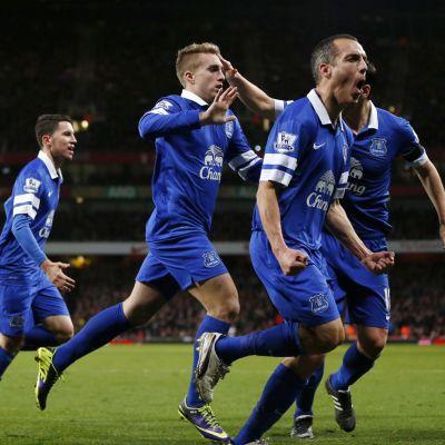 Everton-pelaajat juhlivat.