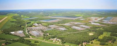 Vy över området intill Vasa flygplats där en eller flera batterifabriker kan få plats.