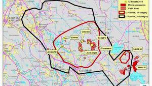 Karta över litiumfyndigheter i Mellersta Österbotten