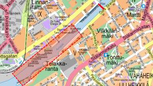 En karta över SmartFöris rutt i Åbo