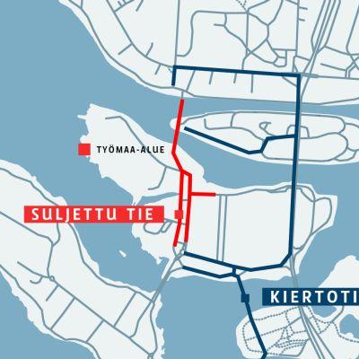 Qstock-festivaalien rakennus vaatii liikennejärjestelyjä Oulun keskustassa.