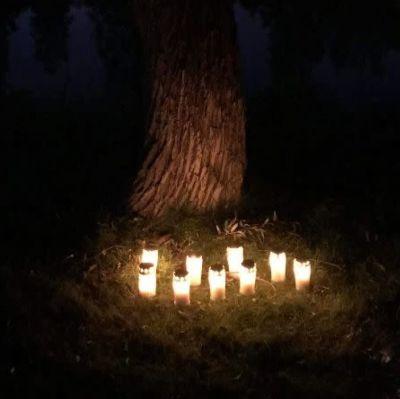 Ljus vid foten av ett träd. Bakgrunden är mörk och trädet lite upplyst.
