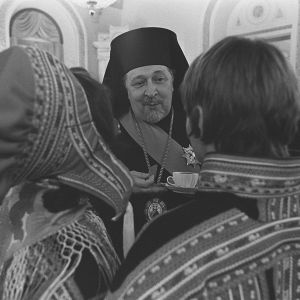 Ärkebiskopen på självständighetsmottagningen i slottet 1975.