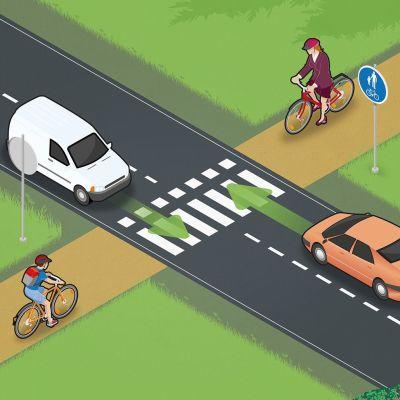 Trafis bild beskriver vem som har förkörsrätt vid fortsatt cykelväg