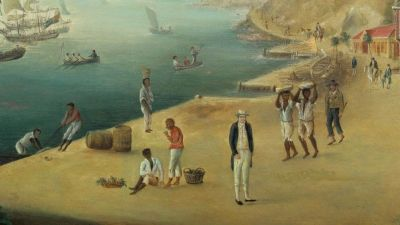 En målning som föreställer en hamn där slavar syns.