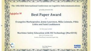 Skärmdump av ett diplom: Best Paper Award