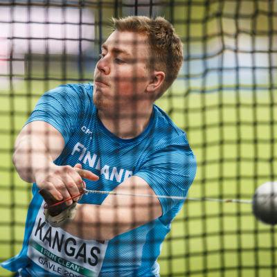 Aaron Kangas kastar slägga, U23-EM 2019.