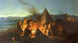 Laestadius tarinoi ranskalaisten ja saamelaisten kanssa kotatulilla 1838. Kuningas Louis Philippen järjestämä tieteellinen tutkimusretkikunta Lappiin, jonka oppaana Laestadius toimi. Maalas François Auguste Biard.