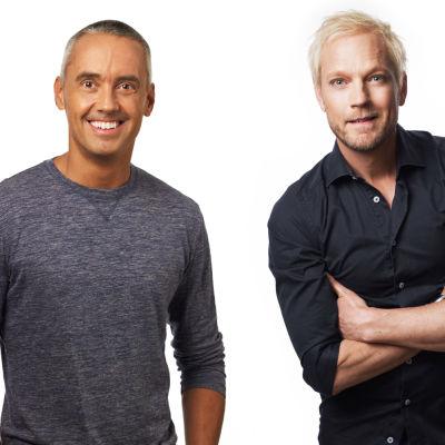 Komikerna Thomas Järvheden och Hasse Brontén.
