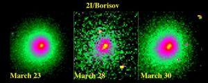 Borisovin komeetan rikkoontuminen kuvasarjassa.
