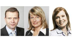 Petteri Orpo, Lenita Toivakka och Laura Räty