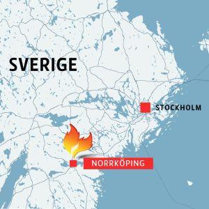 Karta som markerar Norrköping i relation till Stockholm