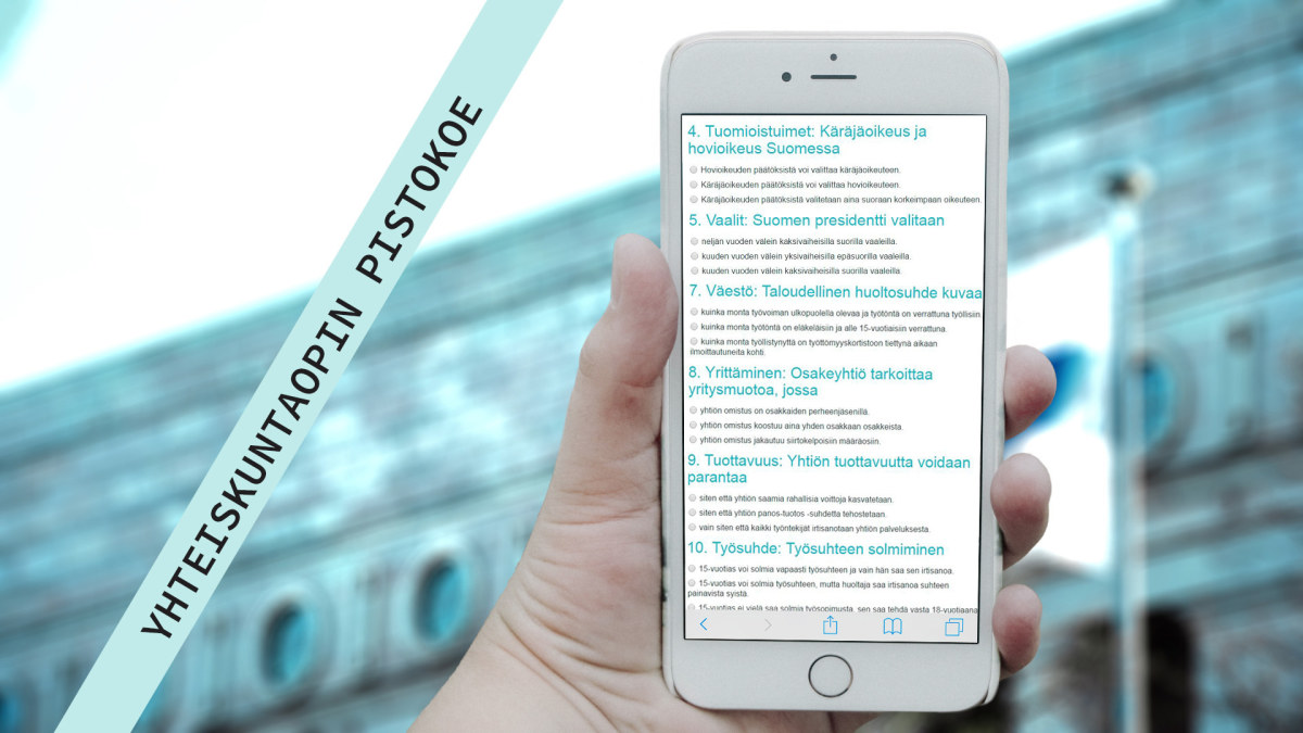 Testaa taitosi yhteiskuntaopin pistarissa | Yhteiskuntaoppi | Abitreenit | yle.fi