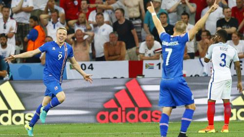 Kolbeinn Sigthorsson jublar efter att ha prickat in segermålet i  åttondelsfinalen mot England. 4743c7d56bd07