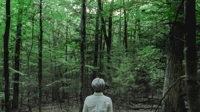 Ryuichi Sakamoto seisoo selin kameraan metsän edessä. Kuva dokumenttielokuvasta Coda.