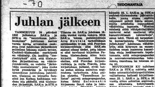 Tiedonantajan lehtileike vuodelta  1970