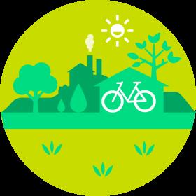 Piirretty kuvituskuva. Vihreä kaupunkimaisema. Etu-alalla valkoinen pyörä.