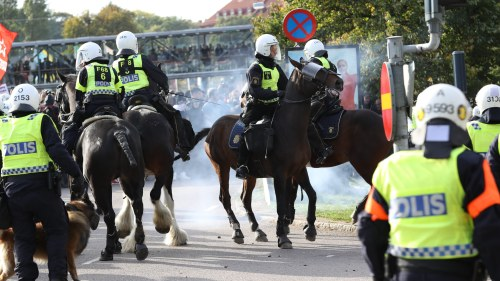 Manga poliser vid demonstration