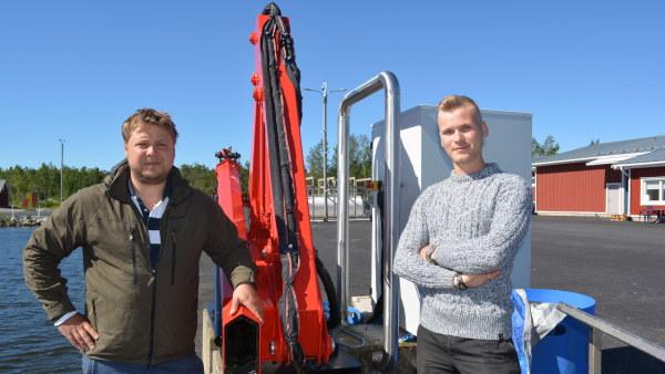 Sebastian Höglund och Andreas Segervall planerar att starta en fiskodling i vattnen utanför Jakobstad  2019