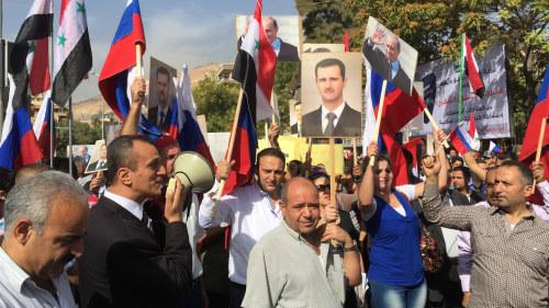 Syrier protesterade utanfor ryska ambassaden