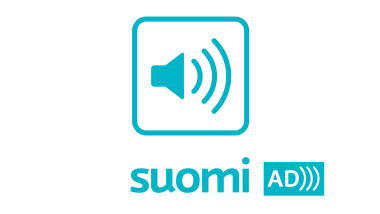 Symbolic image of a speaker, below which the text Suomi AD.