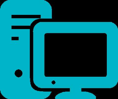 Symbolbild på en dator med en skärm.