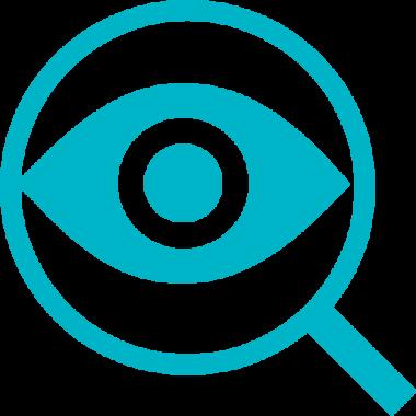 Symbolibild på ett öga inne i ett förstorningsglas.