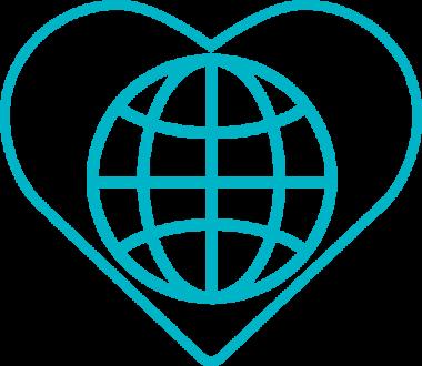 Symbolbild på en jordglob inne i ett hjärta.