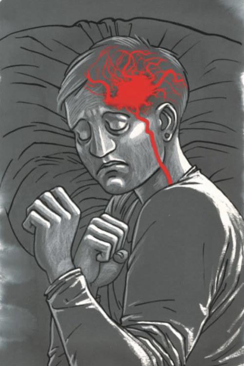 Yksityiskohta Tiitu Takalon sarjakuvateoksesta Memento mori, aivoverenvuoto.